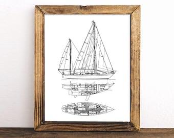 Lighthouse wall art nautical decor blueprint art instant sailboat blueprint nautical decor printable art blueprint art instant download sailboat malvernweather Images