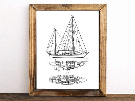 Sailboat blueprint nautical decor printable art blueprint malvernweather Image collections