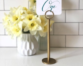 Antique Gold Table Number Holder   Gold Menu Holder   Gold Table Stands    Gold Wedding   Antique Gold