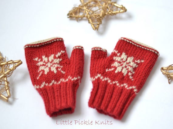 Pdf Knitting Patterns Fingerless Mittens Snowflake 1 9 Etsy
