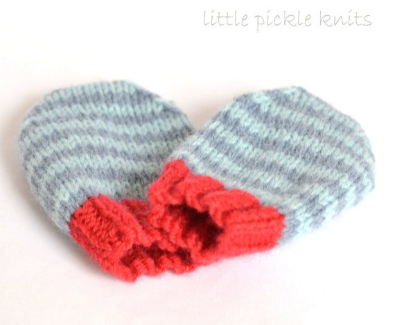 Simple Baby Mittens Knitting Pattern 4ply Stripy Mittens