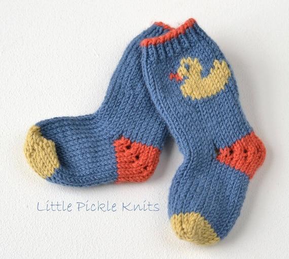 Simple Baby Sock Knitting Pattern Little Duckling Etsy