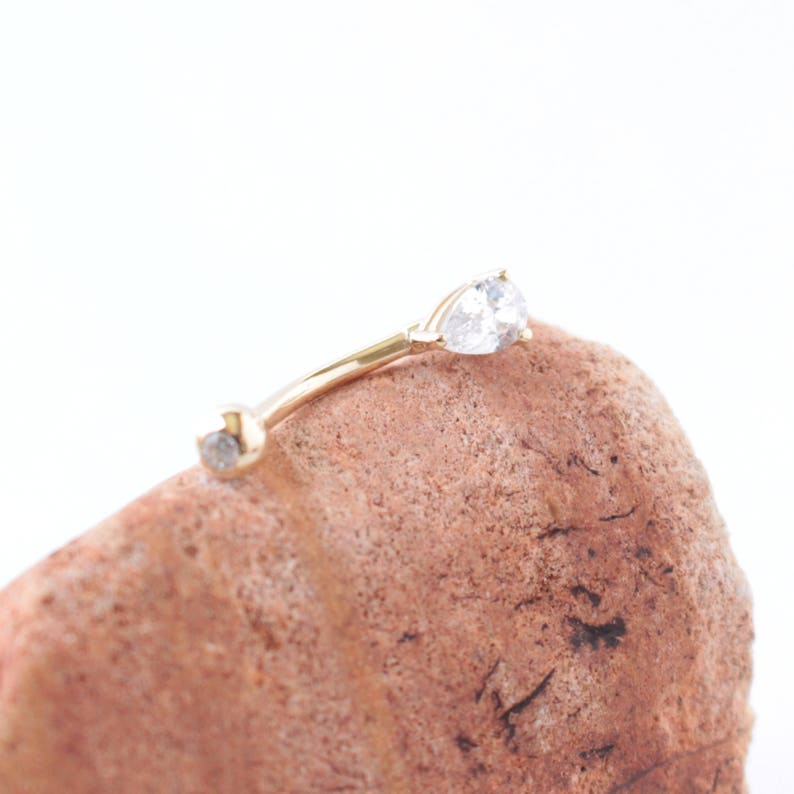 CZ Pear Belly Ring For Her Body Kandie Body Piercings 14g CZ Belly Ring Yellow Gold 14k Gold Belly Ring 14k White Gold Pear CZ