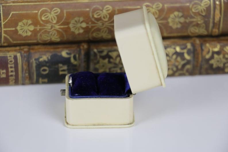 Vintage Ring Box Engagement or Wedding Ring Box with Blue Velvet Interior