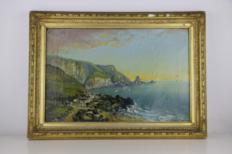 Antike Ölgemälde auf Leinwand White Cliffs of Dover in