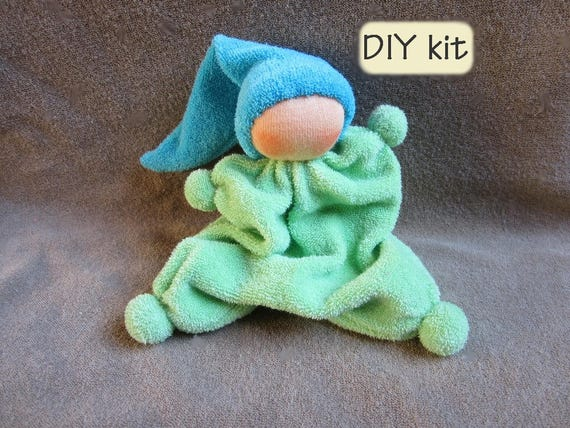 Cuddle doll Rag doll. Including rattle box DIY kit Waldorf doll \u2018Ukkie\u2019 Kit with material and digital PDF pattern with instructions
