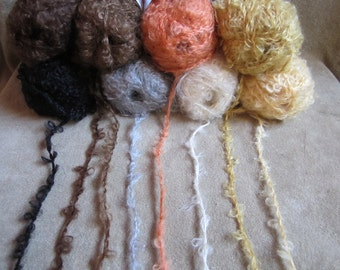 Mohair boucle yarn for making hair for your Waldorf doll, 50 gr, eight colors. Doll hair mohair.