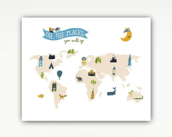 Nursery Map Poster, Kids Print, Oh the Places You Will Go, Travel, Wall Art, Animals #718