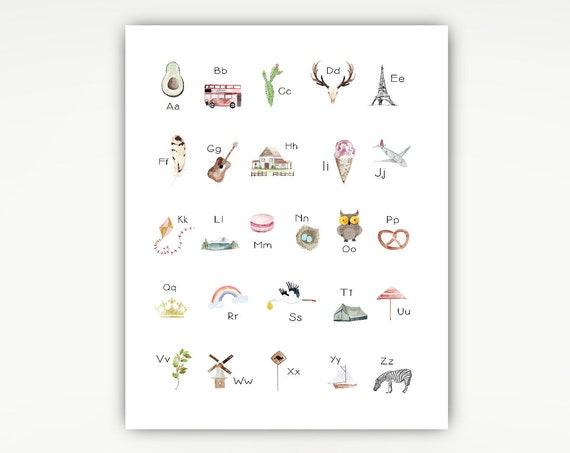 Nursery Print, Alphabet Poster, Watercolor drawings Modern, Travel, Kids #725
