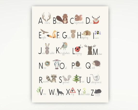 Woodland Alphabet, Nursery Print, Woodland Decor, Alphabet Poster, Animals