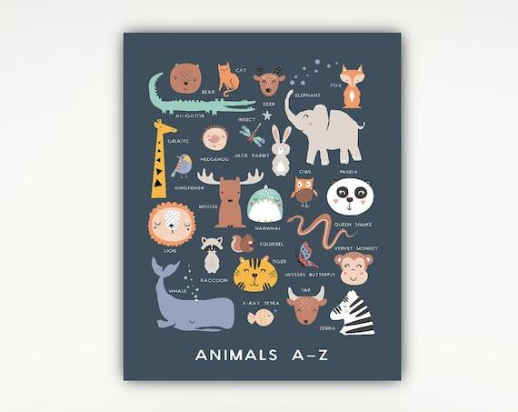Animals A-Z, Nursery Print, Alphabet Poster, Zoo, Kids, Animals #723