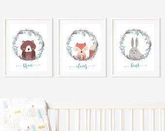 Nursery Wall Art Printables, Animals, Woodland, brave, clever, kind,  Digital Download Set of 3  8x10s #627