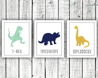 Children's Art Printables, Dinosaurs, Boy's Room, Trex , Size 8x10, Three JPEG downloads #503