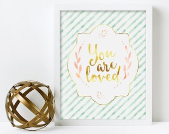 Nursery Wall Art, You are Loved, Mint and Gold, printed, canvas, framed #350