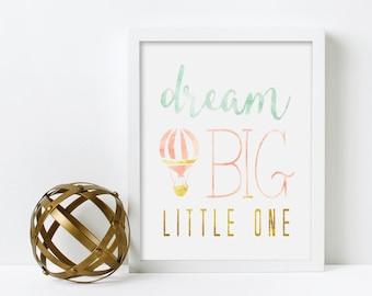 Nursery Art, Dream Big Little One, Hot Air Balloon, Water Color, Framed, Canvas, Art Print #377