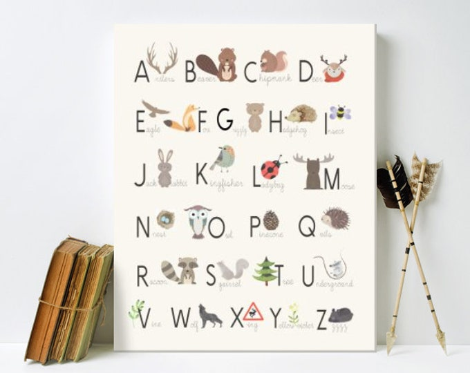 Featured listing image: Nursery Art, Alphabet Woodland poster, Framed, Canvas, or Art Print
