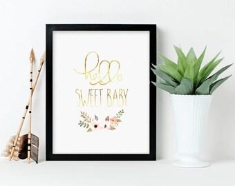 Nursery Art, Hello Sweet Baby, gold, floral , Framed, Canvas, Art Print #362