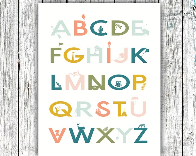 Featured listing image: Nursery Printable, Alphabet Poster, Gender Neutral Colorful,Digital Download #693
