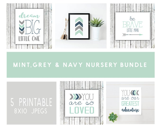 Featured listing image: Boy's Nursery Bundle, Mint, Navy and Gray set, five printable 8x10 JPEGS, tribal #1