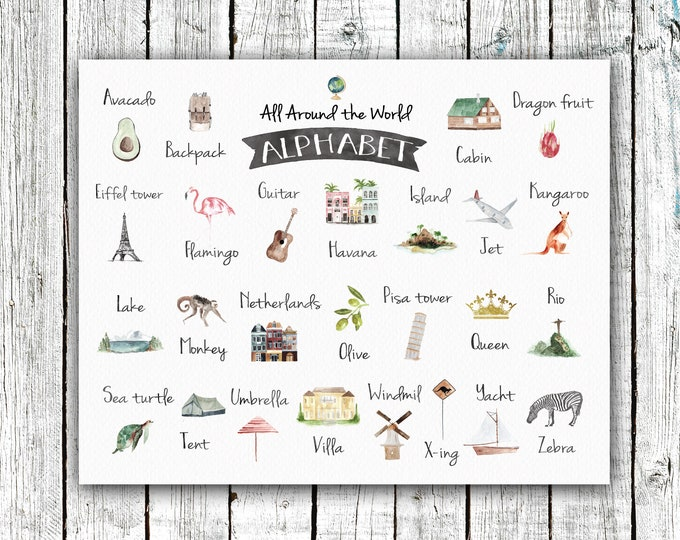Featured listing image: World Alphabet Poster, Nursery Printable, Watercolor, gender neutral, geography,  Digital Download #689