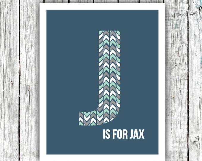 Nursery Art Monogram, Arrows, Navy Grey Mint, Baby Boy, Personalized, Digital Download Size 8x10 #2