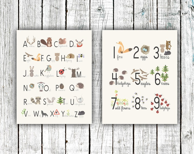 Featured listing image: Alphabet and Numbers Woodland Poster Set, Nursery Printable, gender neutral, animals, Digital Download Size 16x20