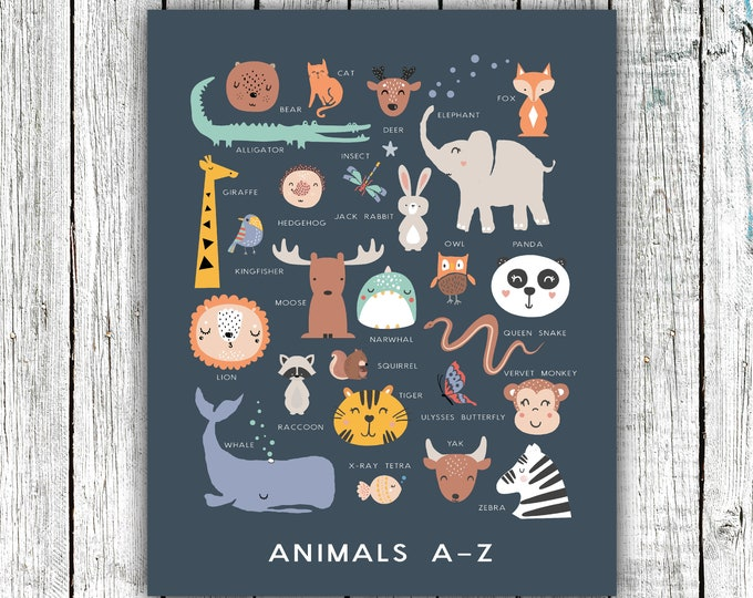 Featured listing image: Nursery Alphabet Animal Printable, Alphabet Poster, Zoo, gender neutral, animals, Kids, Digital Download Size 16x20 #723