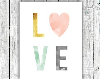 Nursery Wall Art Printable, LOVE, Gender Neutral, Water color, mint, gold, mint,  Digital Download Size 8x10 #626