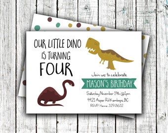 Dinosaur Birthday Invitation, Printable, Boys Birthday Invite, Fall Colors, Cute, Modern #29