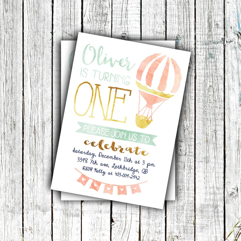 Printable Birthday Invitation, First Birthday, Watercolor, Hot air ...