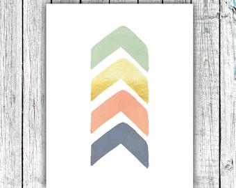 Nursery Art Printable, Chevron Arrow, Gold, Baby Decor Mint, Coral, Digital Download Size 8x10 #536