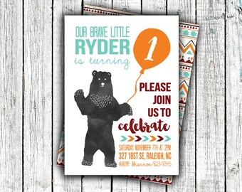 Birthday Party Invitation, Printable, Bear, Aztec, Brave, Fall, First Birthday, Second Birthday, Little Boy, #26