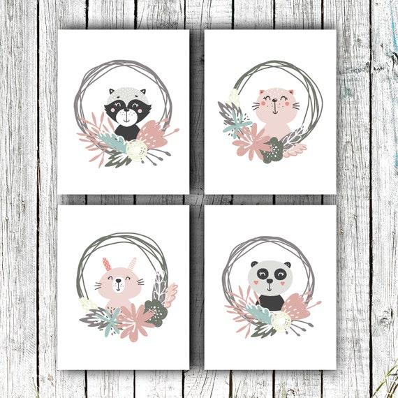 Nursery Printable, Baby Girl Art,  Cute Animal Set, Floral Wreaths, Digital Download Set of 4 8x10s #719