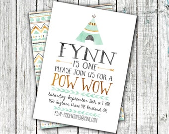 Birthday Pow Wow Invitation, Birthday Party Invitations, Pow Wow, Tribal, Boho, Teepee, Mint and Gold, Watercolor #14