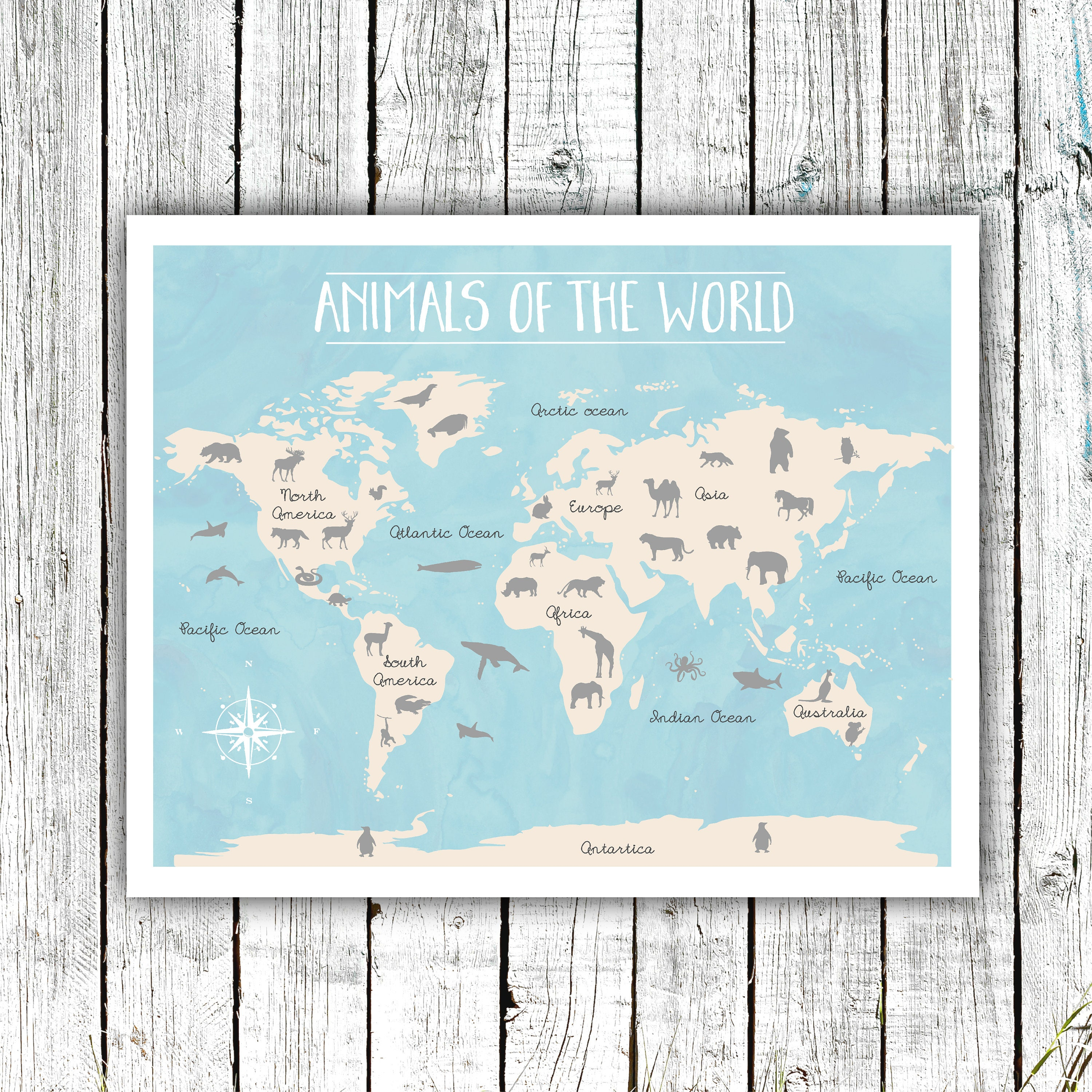 Animals Of The World Poster Nursery Printable Gender Neutral - 16x20 world map