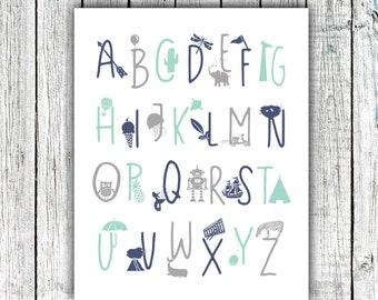 Boy's Alphabet Poster, Alphabet Print, Nursery Printable, Mint Navy and Gray, #672