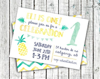 Birthday Party Invitations, Digital File or Printed, Pineapple, Summer Birthday, Gender neutral, Mint, Yellow, Aqua #20
