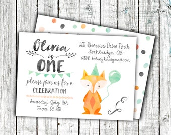 Birthday Party Invitation, Printable Invitation, Gender Neutral, Fox, Woodland, Watercolor, Cute, Digital 4x6 or 5x7 File #5