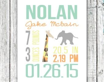 Custom Birth Announcement, Printable art, Wall Art Print, Safari, 8x10 or 11x14 #05