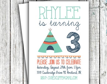 Birthday Party Invitation, Tribal Invitation, Teepee, Pow wow, Little Boy, Teal, Navy Orange, Sizes 4x6 or 5x7, Downloaded or printed #21