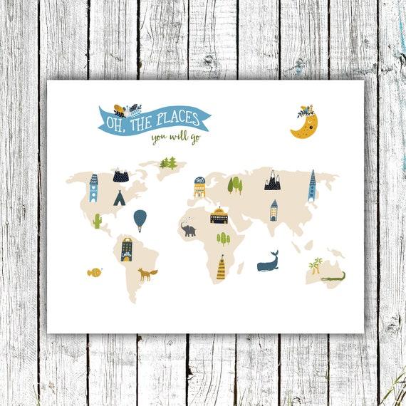 Nursery World Map Printable, Nursery Art, Oh the places you'll go, Scandinavian, Explorer, World Map Poster, Travel, Digital Download #718