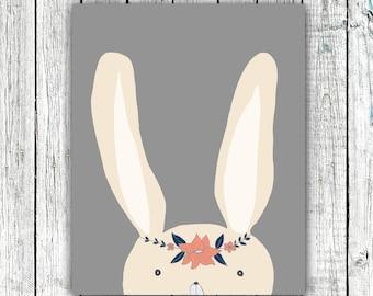 Nursery/Kid's Printable Art, Bunny, Hand Drawn, baby girl, little girl, gray, pink, digital download size 8x10 #hh2