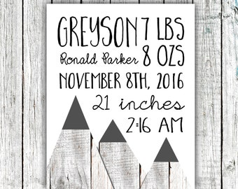 Birth Announcement Printable, Birth Stats, Baby Boy, Mountains, Wood,  Customized Printable File  #08