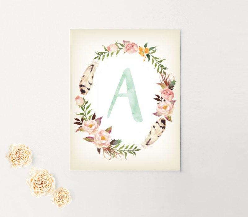 Nursery Art, Monogram, Letter, Baby Girl, Personalized, Canvas, Art ...