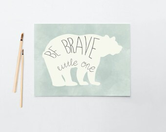 Nursery Art, Be Brave Little One, Bear, Baby Boy, Mint, Framed, Canvas, Art Print #147