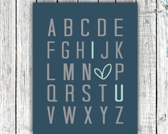 Nursery Art Printable, Baby Boy, Alphabet, ABCs, I love you, Digital Download #560