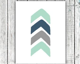 Nursery Art Printable, Chevron Arrow, Baby boy, Mint and Navy, Digital Download Multiple Sizes #537