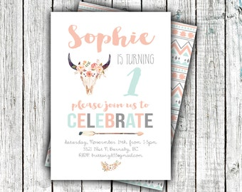 Little Girl Birthday Invitation, Printable Birthday Invite, Skull, Flowers, Arrow, Tribal, Coral, Mint, Modern, First Birthday #28
