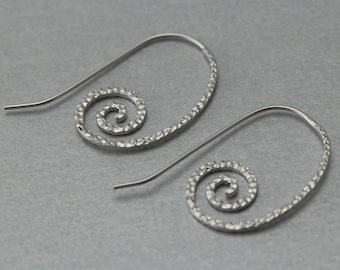 Snail Hook Earring Matte Original Rhodium Plated 10 Pieces  C1241S-010