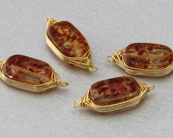 10 Pieces  G3016G-IA010 India Agate Gemstone Connector Polished Gold Plated